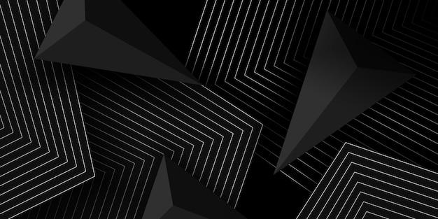 Fundo 3d preto com formas geométricas Vetor Premium