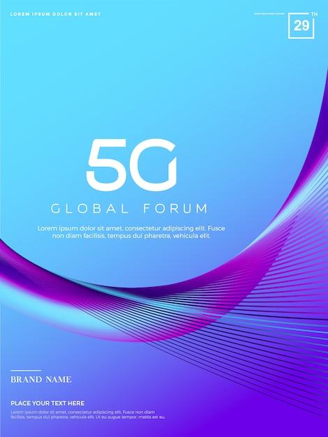 Fundo 5g abstrato, tecnologia de rede 5g Vetor Premium