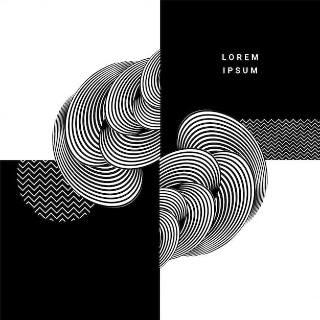 Fundo à moda criativo do sumário do projeto do teste padrão das circulares na cor preto e branco. Vetor Premium