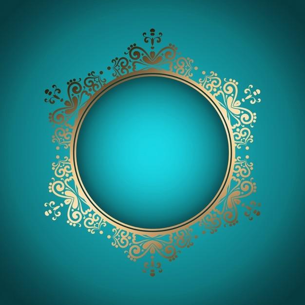 Fundo à moda decorativo com frame dourado Vetor grátis