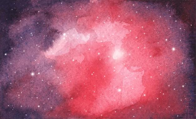 Fundo abstrato aquarela galáxia céu, textura cósmica com estrelas. céu noturno. Vetor Premium
