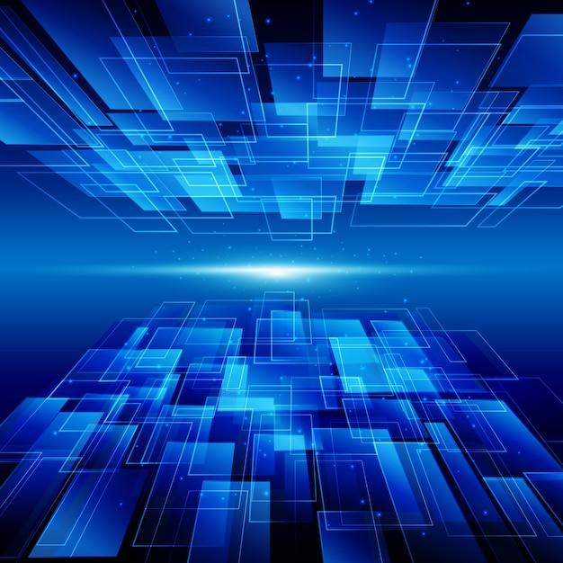 Fundo abstrato azul tecnologia com clarão brilhante Vetor Premium