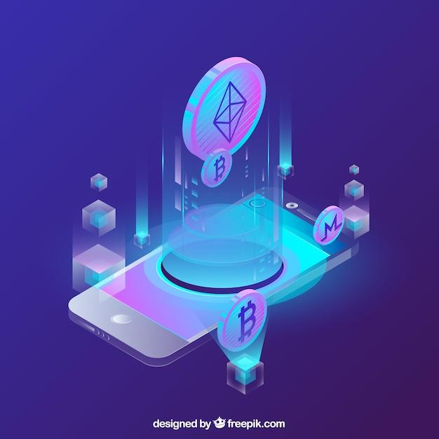 Fundo abstrato blockchain Vetor grátis