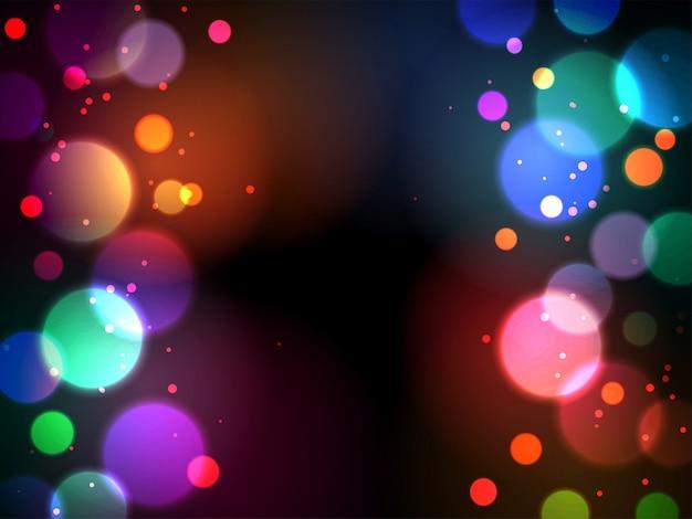 Fundo abstrato bokeh brilhante com efeito de iluminação multi cor Vetor Premium