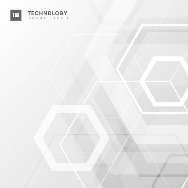 Fundo abstrato branco hexágono geométrico. Vetor Premium