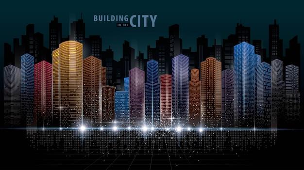 Fundo abstrato cidade futurista Vetor Premium