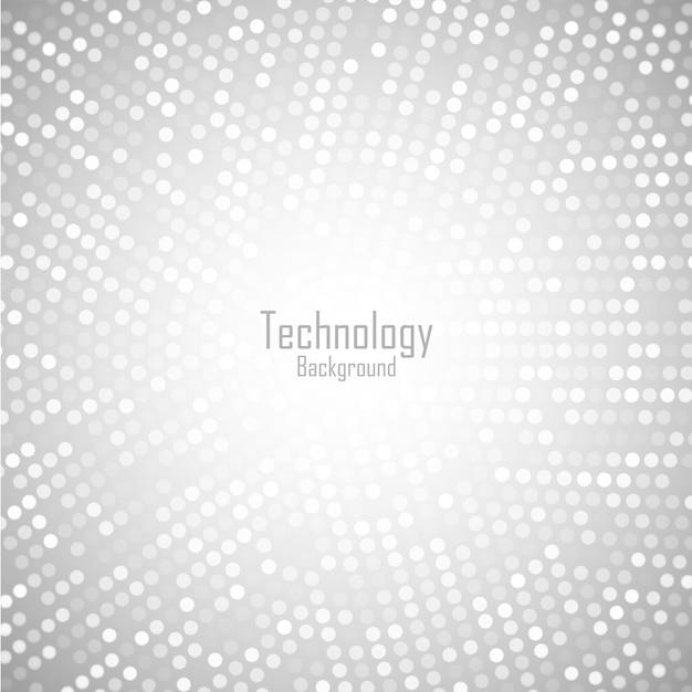 Fundo abstrato circular cinza claro. padrão de pixels de círculo digital de tecnologia. Vetor Premium