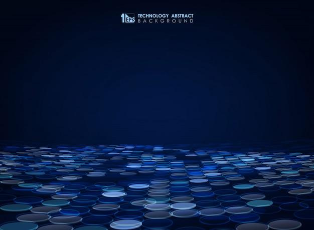 Fundo abstrato círculo azul Vetor Premium