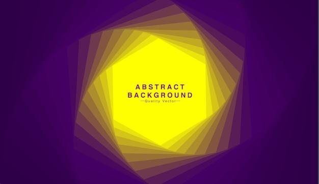 Fundo abstrato com forma do hexágono no tom amarelo e roxo. Vetor Premium
