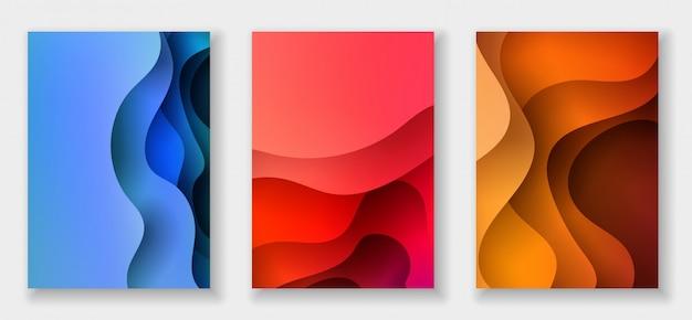 Fundo abstrato com formas de corte de papel Vetor Premium