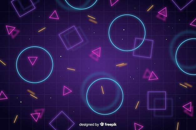 Fundo abstrato com formas geométricas de néon Vetor Premium