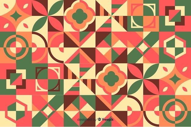 Fundo abstrato com mosaico geométrico colorido Vetor grátis
