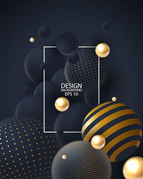 Fundo abstrato com o agrupamento das esferas 3d. Vetor Premium