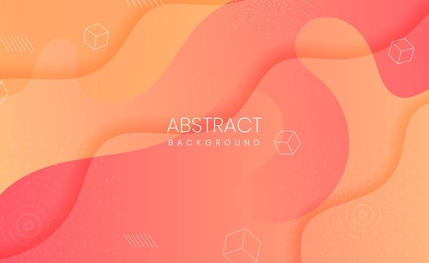 Fundo abstrato com recorte em papel gradiente laranja e amarelo Vetor Premium