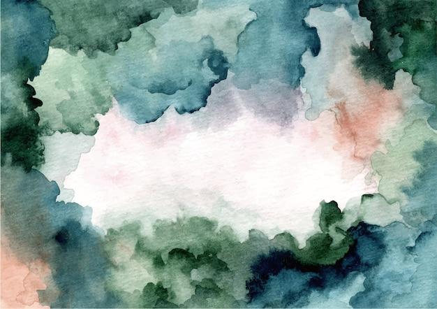 Fundo abstrato com textura de aquarela verde azul Vetor Premium