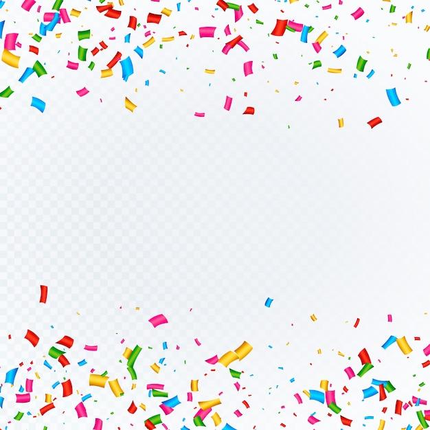 Fundo abstrato com vetor de confetes caindo Vetor grátis