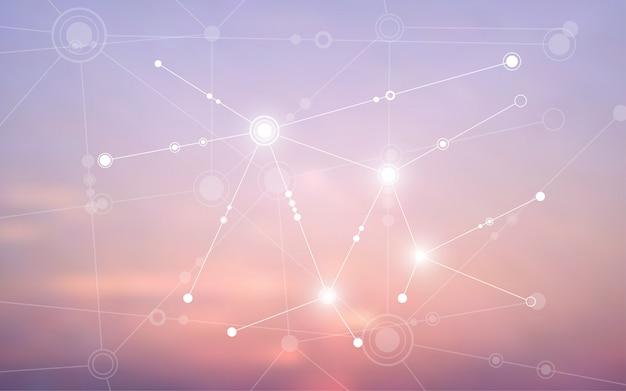 Fundo abstrato conectando a comunicação de inovação Vetor Premium
