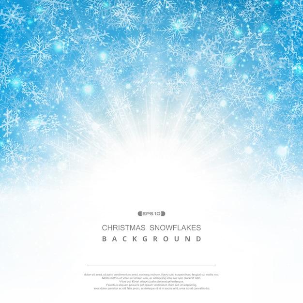 Fundo abstrato da fantasia do teste padrão dos flocos de neve do natal do céu azul com sunburst clássico. Vetor Premium