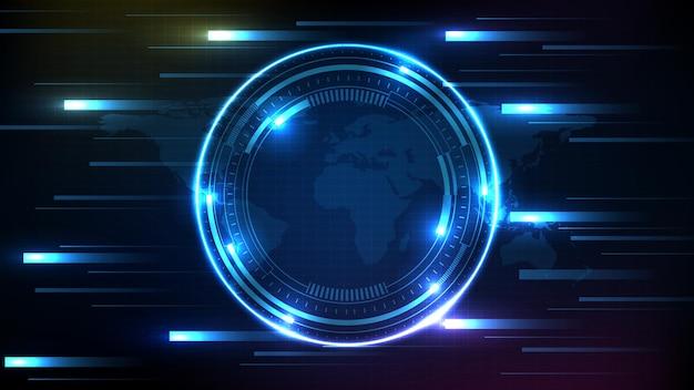 Fundo abstrato da interface de exibição hud de tecnologia futurista azul Vetor Premium