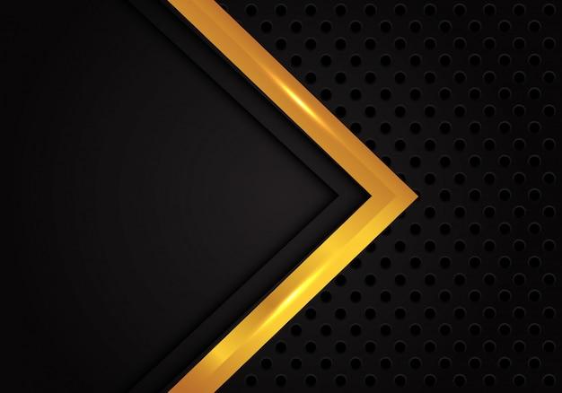 Fundo abstrato da malha do círculo do preto do sentido da seta do ouro. Vetor Premium