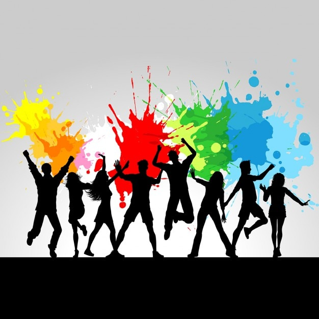 Fundo abstrato da música do grunge com splats coloridos da pintura Vetor grátis