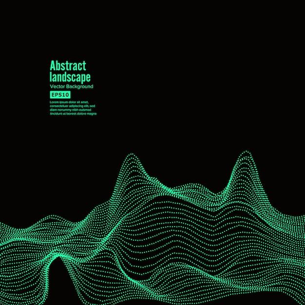 Fundo abstrato da paisagem. ciberespaço com partículas dinâmicas Vetor Premium