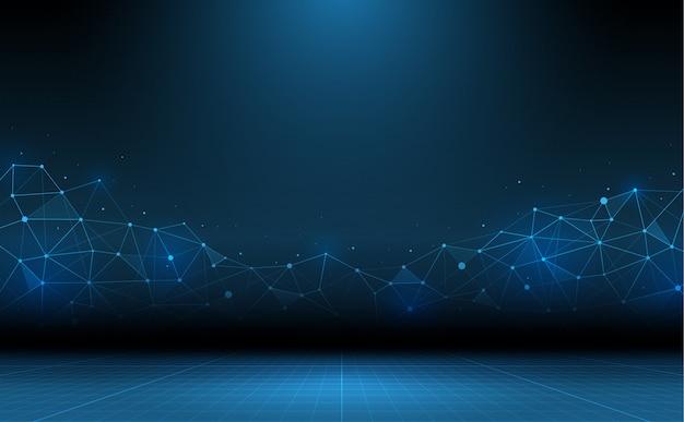 Fundo abstrato da tecnologia. ciência e tecnologia de conexão Vetor Premium
