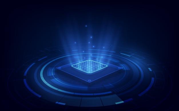 Fundo abstrato da tecnologia da placa de circuito do fundo do processador da microplaqueta da tecnologia. Vetor Premium