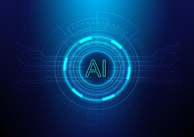 Fundo abstrato da tecnologia digital com ai (inteligência artificial) Vetor Premium