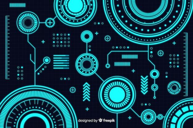 Fundo abstrato da tecnologia no estilo hud Vetor grátis
