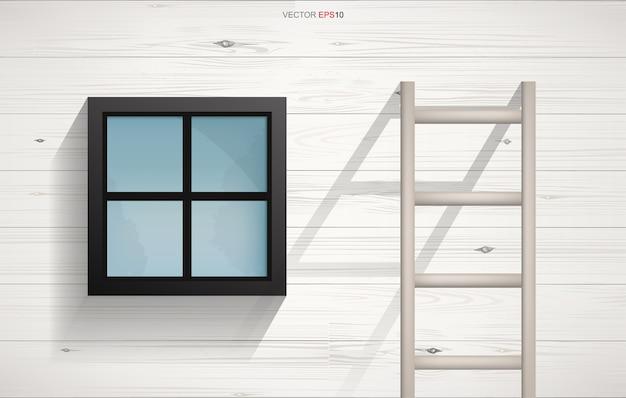 Fundo abstrato de escada de madeira e janela quadrada Vetor Premium
