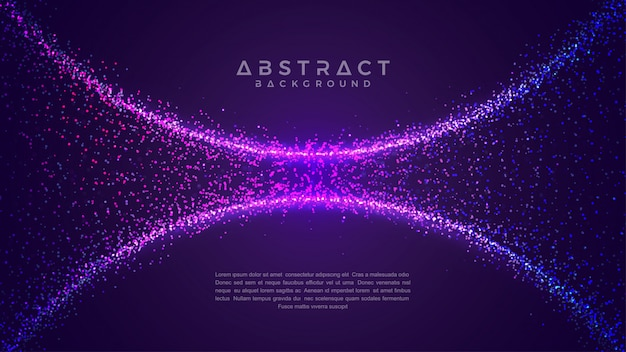 Fundo abstrato de fluxo de partícula de brilho. Vetor Premium