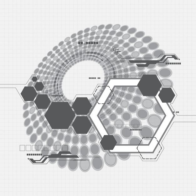 Fundo abstrato de hexágonos cinza Vetor Premium