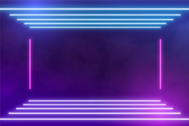 Fundo abstrato de luzes de néon Vetor Premium