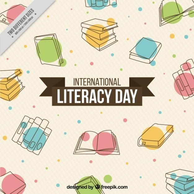 Fundo abstrato de mão livros desenhados para o dia de alfabetização Vetor grátis