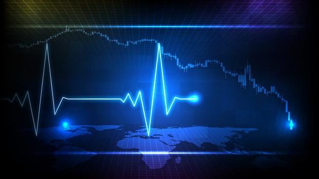 Fundo abstrato de monitor de onda de linha de pulso de pulsação de ecg digital de tecnologia futurista azul e gráfico de velas do mercado de ações Vetor Premium