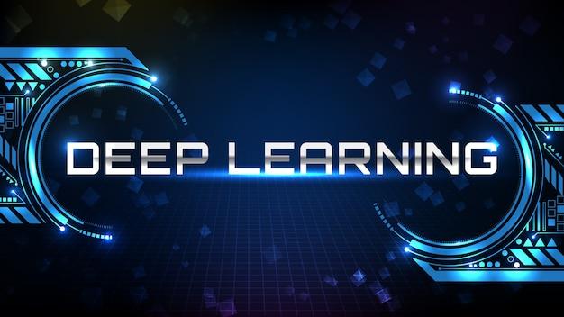 Fundo abstrato de tecnologia futurista azul texto em metal tecnologia de aprendizado profundo com display hud ui Vetor Premium
