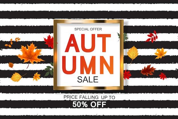 Fundo abstrato de venda de outono com folhas de outono caindo Vetor Premium