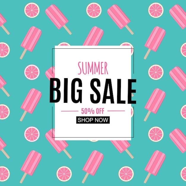 Fundo abstrato de venda de verão com folhas de palmeira, flamingo e sorvete. Vetor Premium