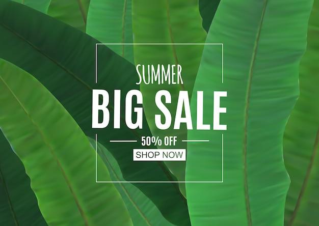 Fundo abstrato de venda de verão com folhas de palmeira. Vetor Premium