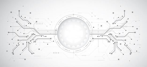 Fundo abstrato design com tecnologia ponto e linha Vetor Premium