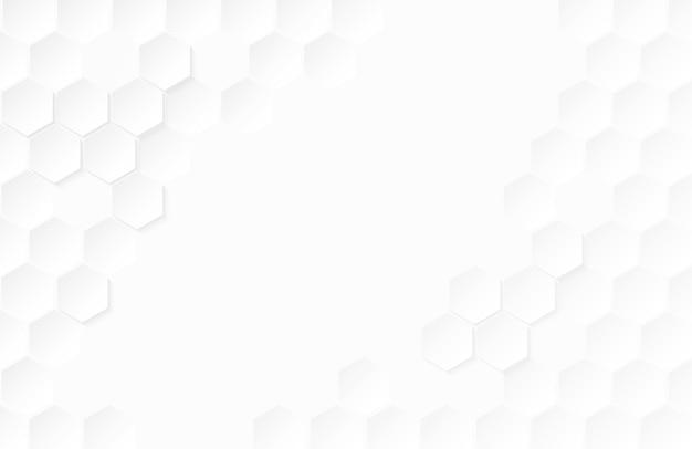 Fundo abstrato do branco do hexágono de papel. Vetor Premium