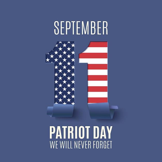 Fundo abstrato do dia do patriota. dia nacional da memória. ilustração. Vetor Premium