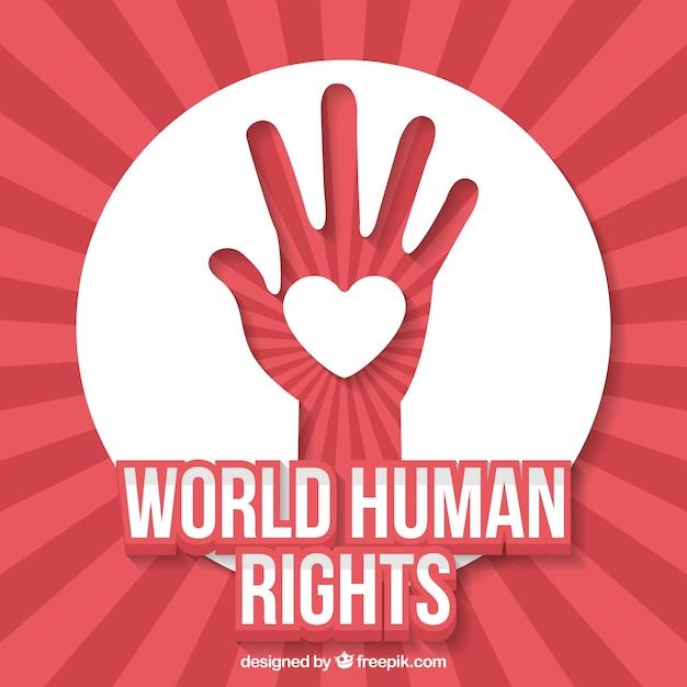 Fundo abstrato do dia dos direitos humanos do mundo da mão com coração Vetor grátis