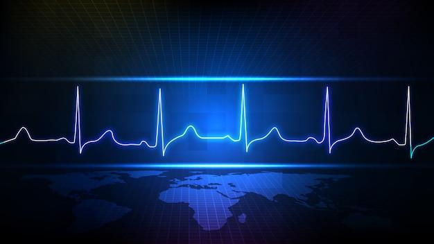 Fundo abstrato do monitor de onda de linha de pulso de ecg digital de tecnologia futurista azul e mapa mundial Vetor Premium
