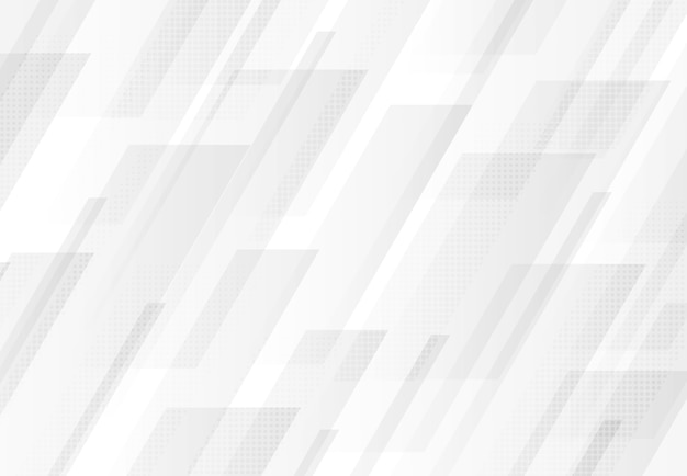 Fundo abstrato do projeto da tecnologia do retângulo branco e cinza Vetor Premium