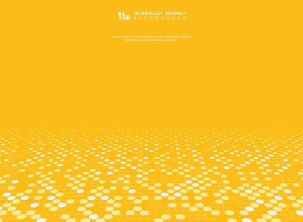 Fundo abstrato do vetor amarelo com decoração de meio-tom. Vetor Premium