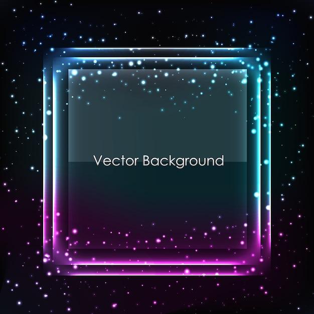 Fundo abstrato do vetor com moldura azul e roxa na estrela escura Vetor grátis