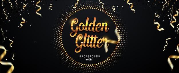Fundo abstrato dourado glitter com fitas caindo Vetor Premium