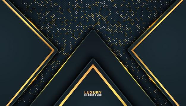 Fundo abstrato escuro com camadas de sobreposição. decoração de elemento de pontos de brilhos dourados. Vetor Premium
